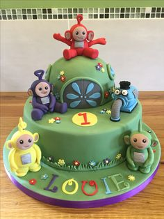 Teletubbies for my grandson's birthday Teletubbies Birthday Cake, Teletubbies Cake, 1st Birthday Party For Girls, 2 Birthday Cake, Cake Decorating For Kids, Kid Desserts, Candy Crafts, 1st Birthdays, Girl Cakes