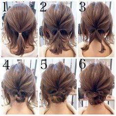Short hair updo Quick and Easy Step by Step Hair Tutorials for Long, Medium,Short Hair Easy Updos For Medium Hair, Medium Short Hair, Medium Hair Styles, Curly Hair Styles, Short Hair Updo Easy, Short Hair Updo Tutorial, Thin Hair Updo, Buns For Short Hair, Ponytails For Short Hair