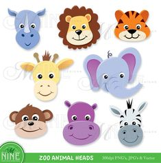 ZOO ANIMAL HEADS Clipart Digital Clip Art Instant by MNINEDESIGNS
