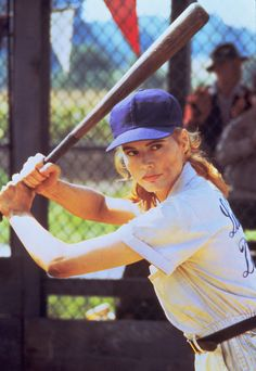 Geena Davis in the 1992 film 'A League of Their Own,' which follows the story of a women's baseball team during World War II.  Photo courtesy of Sony