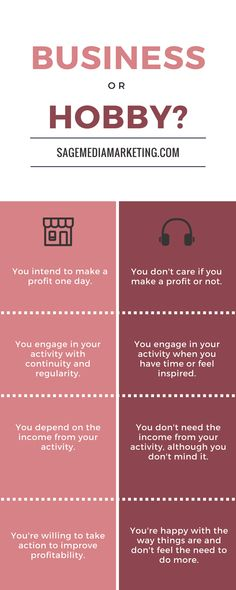 Business versus Hobby Infographic – SAGE media and marketing Hobbies For Adults, Hobbies For Women, Cheap Hobbies, Hobbies Creative, Online Writing Jobs, Freelance Writing Jobs, Online Jobs, Hobby Kids Games, How To Move Forward