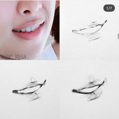 Well overdue for a mouth step by step 😅 I didnt realise it had been so long 😱 the steps are pretty much the same! ~ Mark out the corners… Kpop Drawings, Pencil Art Drawings, Realistic Drawings, Pencil Sketching, Sketching Tips, Drawing Faces, Drawing Tips, Drawing Sketches, Lips Sketch