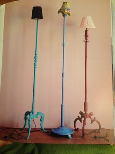 "Vintage lamp stands painted and topped with a mismatched ""hats"" Via Emily Chalmer's ""Modern  Vintage Style"""