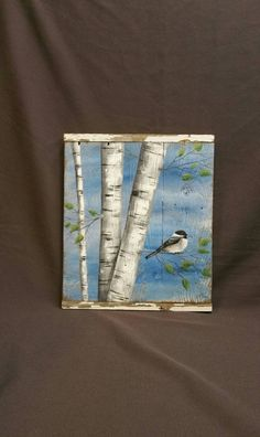 White Birch Painting, Pallet wood, Bird, Wall art barnwood, Reclaimed Wood…