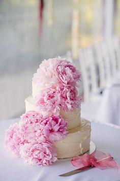 Wedding Cake with Cascading Pink Peonies -- See the wedding on SMP: http://www.StyleMePretty.com/australia-weddings/2014/02/18/whimisical-adelaide-hills-wedding/ Photography: Luke Simon