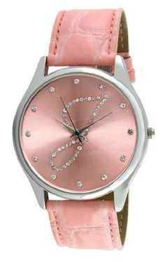 """Viva Silver Tone Round Crystal Dial Initial """"J"""" Pink Strap Watch #V1650P-J Viva. $19.99. Save 50% Off!"""