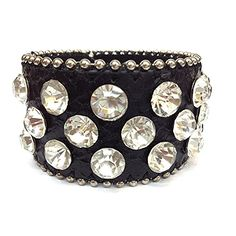 "This leather cuff is constructed of genuine leather, has a snap-on feature and is accented in rhinestones all the way around. Material: Genuine Leather - Size: 8.5"" Long x 2"" Wide - Color: Black $39.99"