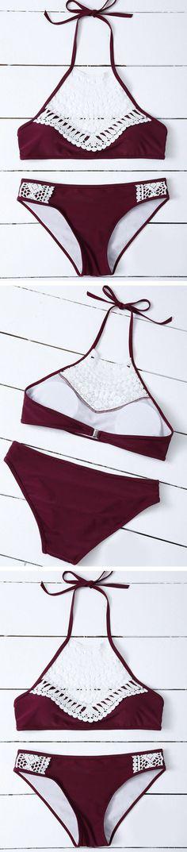 Burgundy Crochet Halter Bikini