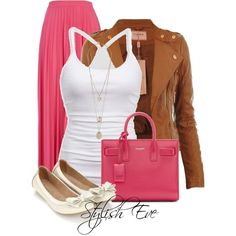 #FuschiaSkirt #outfit #outfits #Fuschia #cognacleather #cognacjacket #Fuschia #skirt #ballerina #cute #set #sets #awesome #bow #bows