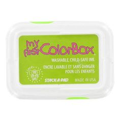 This My 1st ColorBox Child Safe Lime Ink Pad contains child safe pigment that is great to use on washable surfaces. The ink pad has a spill safe recessed pad. The ink in non-toxic and cleans up easily with soap and water.