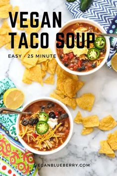 This mind-blowingly delicious vegan taco soup comes together in 25 minutes or less and is the perfect hearty dinner solution for family and friends alike! Vegan Crockpot Recipes, Vegan Mexican Recipes, Best Vegan Recipes, Soup Recipes, Vegetarian Recipes, Healthy Recipes, Cheap Clean Eating, Clean Eating Snacks, Entree Vegan