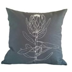 Cushion Cover - Single Protea - White on Grey Cotton 1 Scatter Cushions, Throw Pillows, Silk Painting, Painting Flowers, Leather Art, Black And White Abstract, Hand Designs, Gray Background, Fabric Decor
