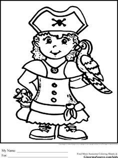 Pirate Coloring Pages girl