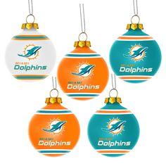 Miami Dolphins Slogan Glass Ball Ornament - Aqua | Miami dolphins ...