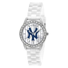 Women's Game Time Frost Series Watch NY Yankees Pinstripe - White