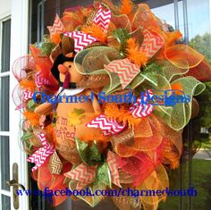 Turkey Thanksgiving Ruffle deco mesh Wreath fall by CharmedSouth, $95.00
