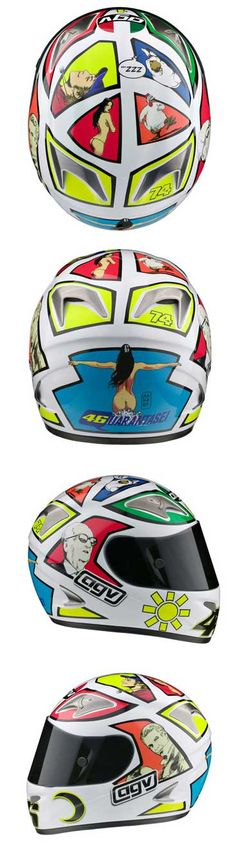 2006 - Rossi had a specially designed helmet created for the 2006 Mugello race. The helmet for 2006 was designed by Milo Manara, an Italian artist and writer best known for his graphic novels, comic books, and distinctive erotic art. Manara has a reputation for writing and illustrating comics that feature elegantly drawn, beautiful, and semi-dressed women exploring erotic and fantasy storylines.