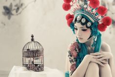 chinese birdcage and girl in headdress - LIKE!