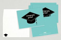 Graduation Cap Congrats Greeting Card Template - The illustrative black graduation cap stands out on a bright teal background.