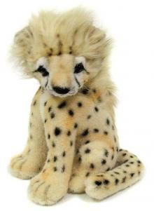 This 32cm sitting Cheetah cub by Hansa is made from a beautiful soft dense short pile plush, she has a long pile mane, and air brushed face.  Suitable for age 3 upwards.