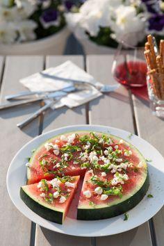 Watermeloen met feta en basiicum