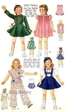 VINTAGE-1939-22-LITTLE-LADY-PORTRAIT-DOLL-CLOTHES-PATTERN-720