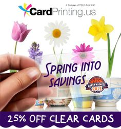 "Use promo code ""SCL25"" and save 25% off all clear cards! Maximum savings of up to $300! Visit www.clearcards.com"
