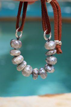 Boho Mystic Labradorite and Leather Bracelet by HappyGoLuckyJewels