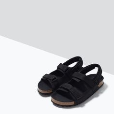 Image 5 of LEATHER VELCRO SANDALS from Zara