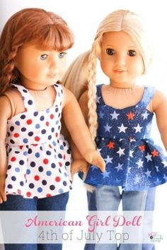 Adorable free doll clothes pattern for sewing an American Girl Top along with tips for completing the pattern. by lorna