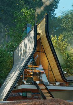 'Kujdane' by Shomali Design is a modern take on typical A frame houses Cabin Design, Roof Design, Tiny House Design, Modern House Design, Studios Architecture, Amazing Architecture, Architecture Details, Triangle House, A Frame House Plans