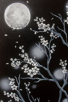 White Cherry Blossoms Moon Original Acrylic by SurrealSentiments
