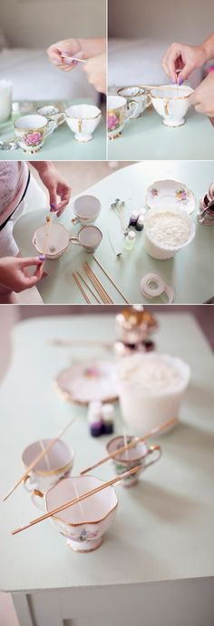 12 DIY Gift ideas - Candles in antique tea cups! So pretty and easy to make!