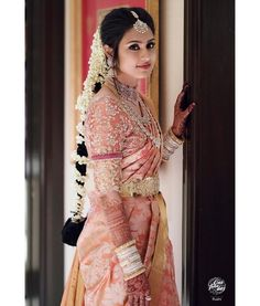 Beautiful South Indian Wedding Wear Idea :- AwesomeLifestyleFashion Different Culture have their own look and style and Kanjivaram and. Bridal Sarees South Indian, Bridal Silk Saree, Bridal Lehenga, Saree Wedding, Punjabi Wedding, South Indian Bride Jewellery, Pink Saree Silk, Telugu Wedding, South Indian Weddings