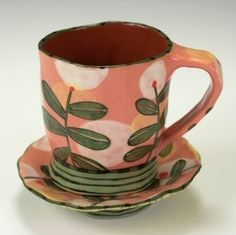 Espresso Cup and Saucer Set Salmon with Hovering by nancyandburt ~ Such happy colors and motif.who wouldn't want to drink their coffee from this? Pottery Mugs, Ceramic Pottery, Pottery Art, Ceramic Clay, Ceramic Plates, Cerámica Ideas, Clay Cup, Sculptures Céramiques, Paperclay