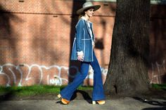 Chiara Ferragni of The Blonde Salad sporting an all denim look with a wide-brim hat // MFW... - Street Style