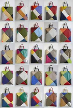 frrry: multiple tote bag Scrappy .... Great ideas using small pieces of suede