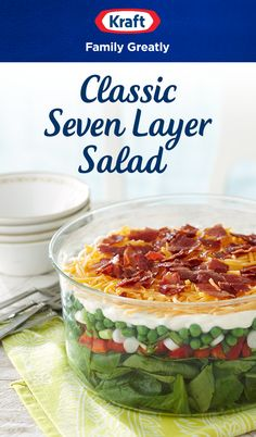 Bring a classic to your next potluck with this Seven Layer Salad recipe from Kraft Natural Cheese. Friends and family will go crazy for the layers of veggies, bacon and Kraft Shredded Sharp Cheddar Cheese. Low Carb Recipes, Cooking Recipes, Healthy Recipes, Cooking Tips, Microwave Recipes, Seven Layer Salad, Good Food, Yummy Food, Brunch