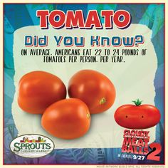 """It's time to """"ketchup"""" on your """"foodimal"""" information! #sproutsfm #tomato #didyouknow"""