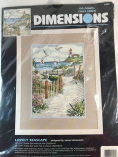 Lovely Seascape Lighthouse Dimensions No Count Cross Stitch Kit Himsworth New #Dimensions #TobeFramed
