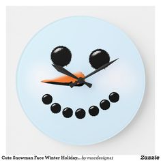 Cute Snowman Face Winter Holiday Snowmen Xmas Large Clock Snowman Faces, Cute Snowman, Snowmen, Holiday Cards, Christmas Cards, Xmas, Retro Christmas Decorations, Large Clock, Wall Clocks