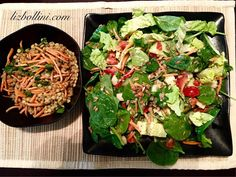 Micro greens salad and lentil lime salad.
