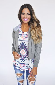 Hooded Jacket- Olive - Dottie Couture Boutique