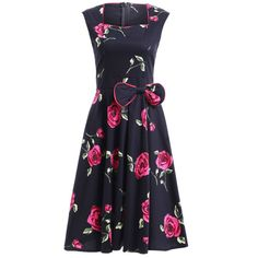 $24.55 Stunning Sweetheart Neck Sleeveless Floral Bowknot Dress For Women
