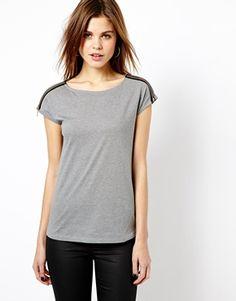 Image 1 ofWarehouse Leather Look Zip Shoulder Tee