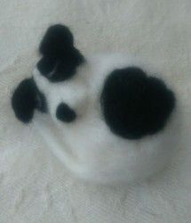 New Listing Started Handmade Needle Felted White & Black Sleeping Jack Russell Terrier Dog Ornament £8.99