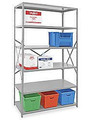 Storage shelves, add a fabric door on a frame Industrial Steel Shelving in Stock - ULINE