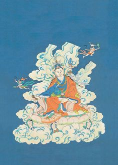 When Chögyam Trungpa Rinpoche was studying at Oxford in the late 1960s as a Spalding Fellow, he also composed teachings and painted. This was one of the works to come out of that period. Padmasambhava, also known as Guru Rinpoche, was instrumental in bringing Buddhism to Tibet. Its a very beautiful and unusual painting of Padmasambhava, in that it has a plain sky background and was created from an actual vision that Trungpa Rinpoche had of Padmasambhava.