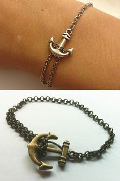 DIY Anchor Bracelet Tutorials. Top Photo: Tutorial from Lilly Pad Blog here, Bottom Photo: Tutorial fromDance to the Radio here(and she sells them for $4).