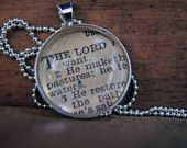Personalized Vintage Bible Verse Pendant Necklace- Pick Your Verse